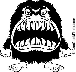 Angry Cartoon Hairy Monster - A cartoon illustration of a...