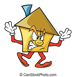 Angry Cartoon House Character