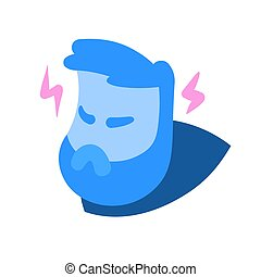 Angry cartoon man head in rage, with lightnings of wrath ...