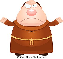 Angry Cartoon Monk - A cartoon illustration of a monk...