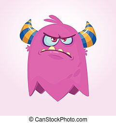 Angry cartoon monster. Angry flying monster emotion. Halloween vector illustration