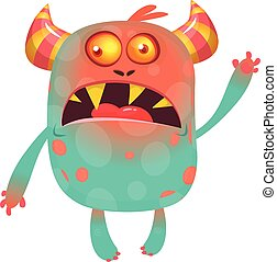 Angry cartoon monster. Big set of cartoon monsters illustrations