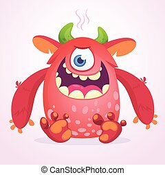 Angry cartoon monster. Funny monster face emotion. Halloween vector illustration