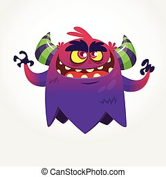 Angry cartoon monster. Halloween vector illustration