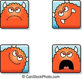 Angry Cartoon Monster Icons