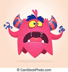 Angry cartoon monster pink and horned. Vector illustration