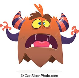 Angry cartoon monster screanimg. Yelling monster expression. Halloween vector illustration