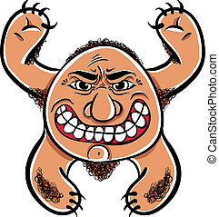 Angry cartoon monster, vector illustration.