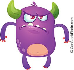 Angry cartoon monster. Violet horned monster alien with angry expression. Halloween  vector illustration