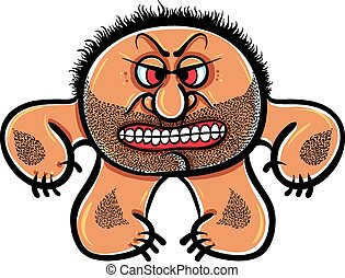 Angry cartoon monster with stubble,