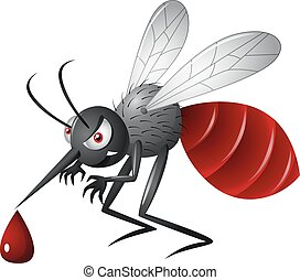 Angry cartoon mosquito - Vector illustration of angry...
