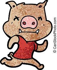 angry cartoon pig running