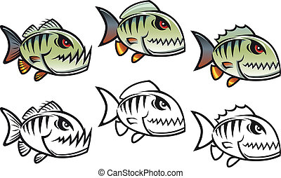 Angry cartoon piranha fish in three variations isolated on...