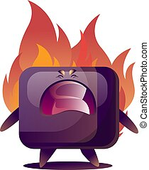 Angry cartoon purple TV monster vector illustration on white bacground