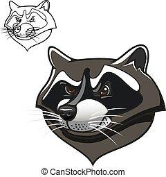 Angry cartoon raccoon mascot on white
