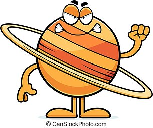 Angry Cartoon Saturn - A cartoon illustration of the planet...