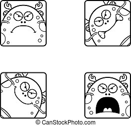 Angry Cartoon Sea Monster Icons