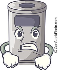Angry cartoon steel trash can in the room