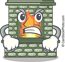 Angry cartoon stone fireplace with the flame vector...