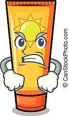 Angry cartoon sun cream in bag makeup vector illustration