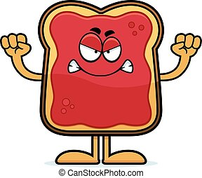 Angry Cartoon Toast With Jam - A cartoon illustration of a...
