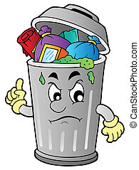 Angry cartoon trash can - vector illustration.