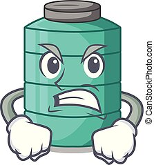 Angry cartoon water tank on the tower vector illustration