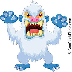 Angry cartoon yeti - vector illustration of Angry cartoon...