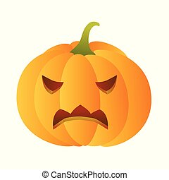 Angry carved pumpkin.