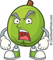 Angry casimiroa fruit cartoon character with mascot