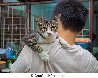 Angry Cat Carried by Man