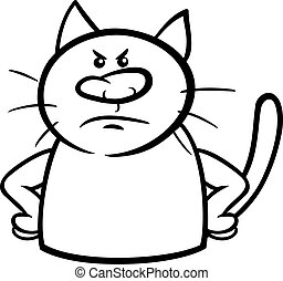 angry cat cartoon coloring page - Black and White Cartoon...