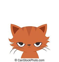 Angry cat cartoon. Cute grumpy cat.