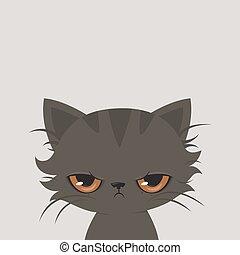 Angry cat cartoon. Cute grumpy cat, vector.