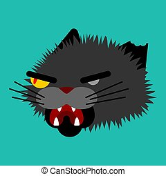 Angry cat face. Attacker pet head. Animal bully vector