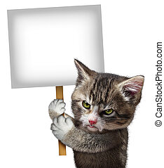 Angry Cat Holding Sign - Angry cat holding a blank card sign...