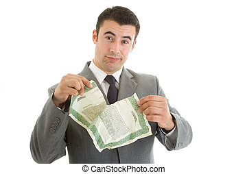 Angry Caucasian Hispanic Man Tearing Stock Certificate Isolated