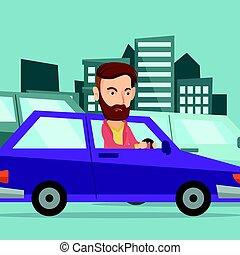 Angry caucasian man in car stuck in traffic jam.
