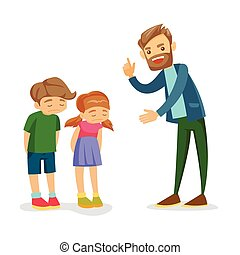 Angry Caucasian white father scolding his children