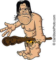 Angry caveman - Cartoon illustration of an angry caveman