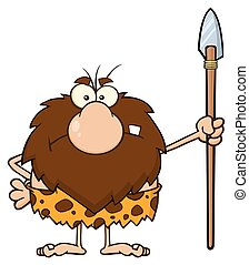 Angry Caveman Standing With A Spear - Angry Male Caveman...