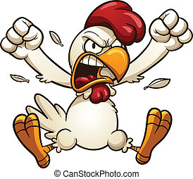 Angry chicken - Angry cartoon chicken. Vector clip art...