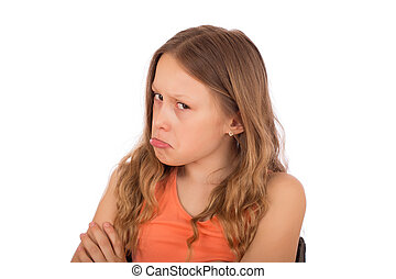 Angry child make a grimace. Isolated on a white background.