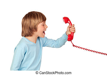 Angry child shouting At Phone