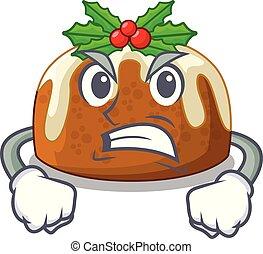 Angry christmas pudding on dinning table cartoon