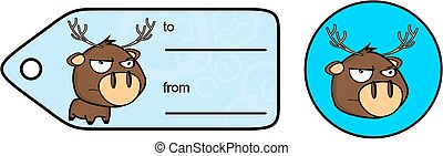 angry chubby deer cartoon exprression giftcard sticker -...