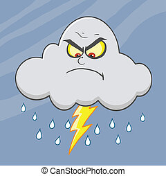 Angry Cloud With Lightning And Rain