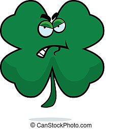 Angry Clover - A cartoon four leaf clover looking angry.