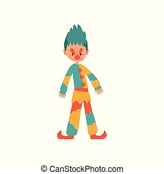 Angry clown cartoon character vector Illustration on a white background
