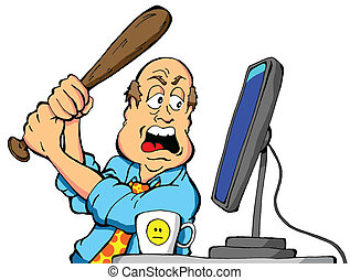 Cartoon of an angry computer user about to destroy his computer with a baseball bat